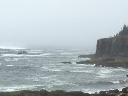 Otter Cliffs and a Shrimp Boat
