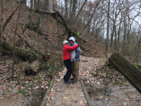 my parents at Mounds State Park, IN